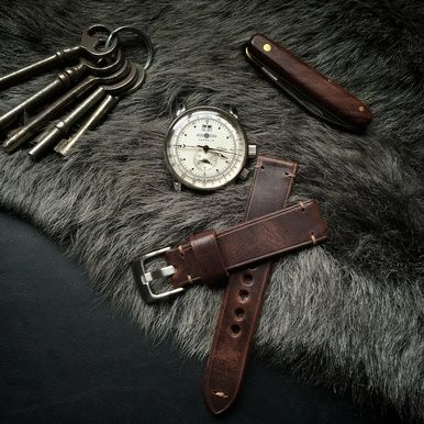 "Indulge your favorite watch with our classy ""Kingsley"" chestnut brown handmade leather watch strap."