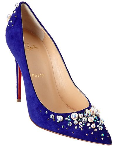 Rue La La — Christian Louboutin Candidate 100 Embellished Suede Pump