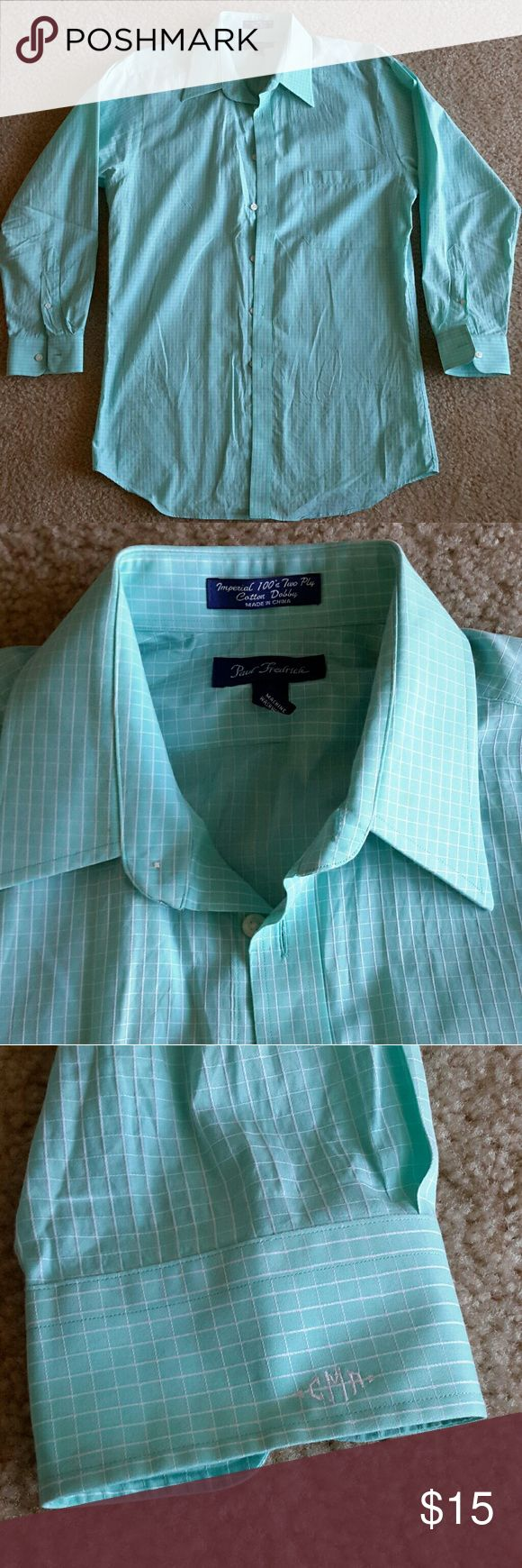 Men's Dress Shirt Aqua/Teal color with White checkers - Trim Fit - Imperial 100's two ply cotton dobby - 100% cotton - CAM embroidered on cuff Paul Fredrick Shirts Dress Shirts