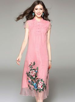 Vintage Embroidered Stand Collar Short Sleeve Shift Dress