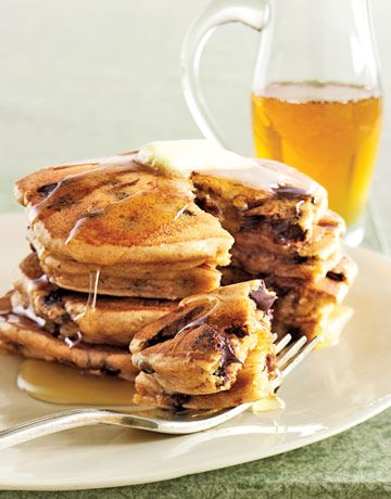 Peanut Butter and Chocolate Chip Pancakes. We'd be lying if we said our mouths weren't watering!