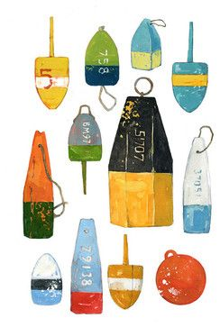 Lobster Buoys Art Print from Watercolor contemporary artwork