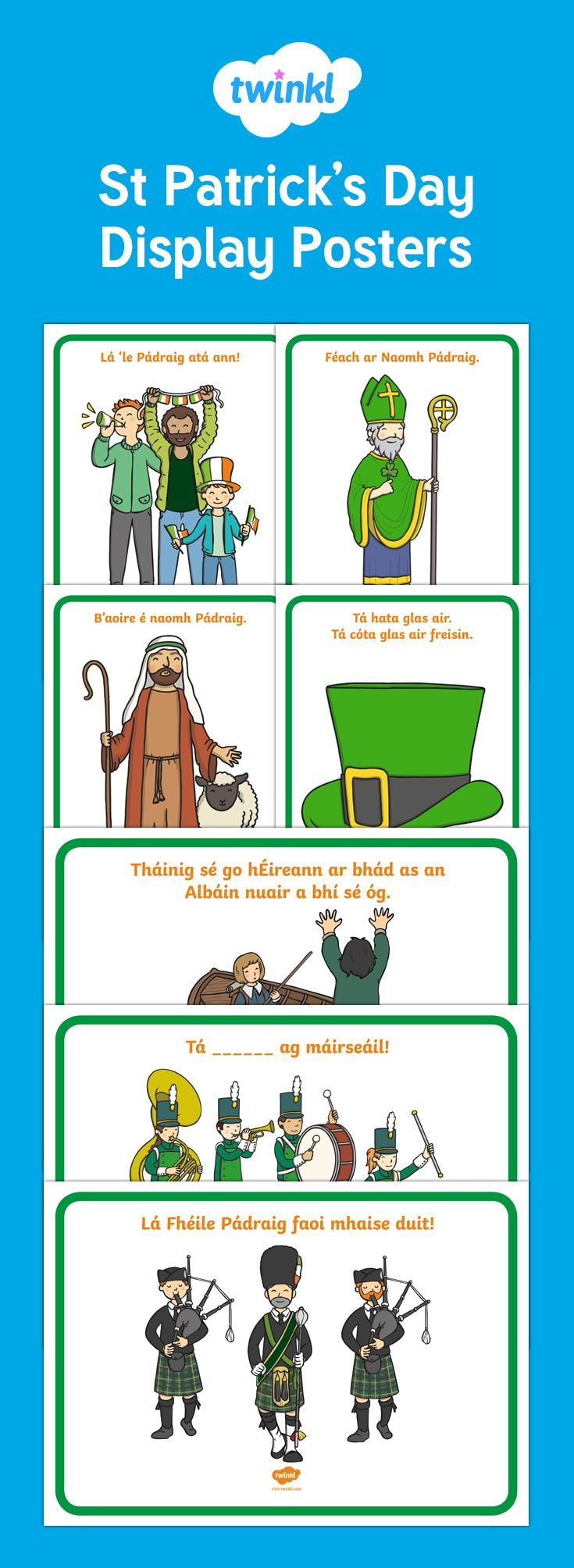 Saint Patrick's Day Display Posters Gaeilge/Irish