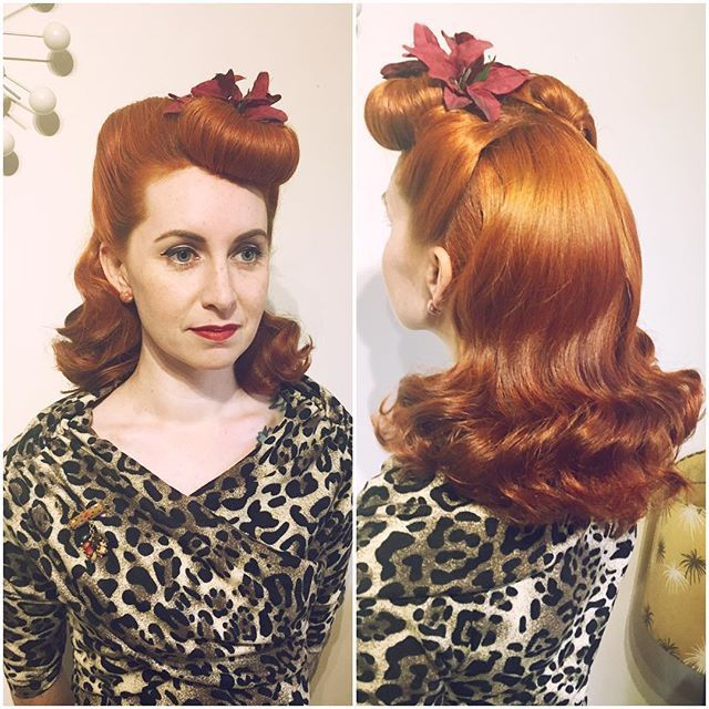 Beautiful Holiday hair! The poinsettia is a perfect touch @lucilleslocks.  #SuavecitaPomade #Suavecita #Pomade #BumperBangs #Bangs #Vintagehair #Pinuphair #Retro #Vintage #Holiday #Hair #Hairstyle #Style #Hairdresser #Salon #Ginger #Redhead #Christmas #Xmas #Getitrucca!