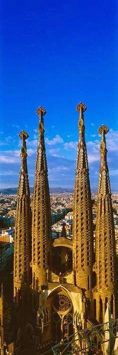 Towers of the Sagrada Familia, Barcelona, Spain -- Architect: Antonio Gaudi