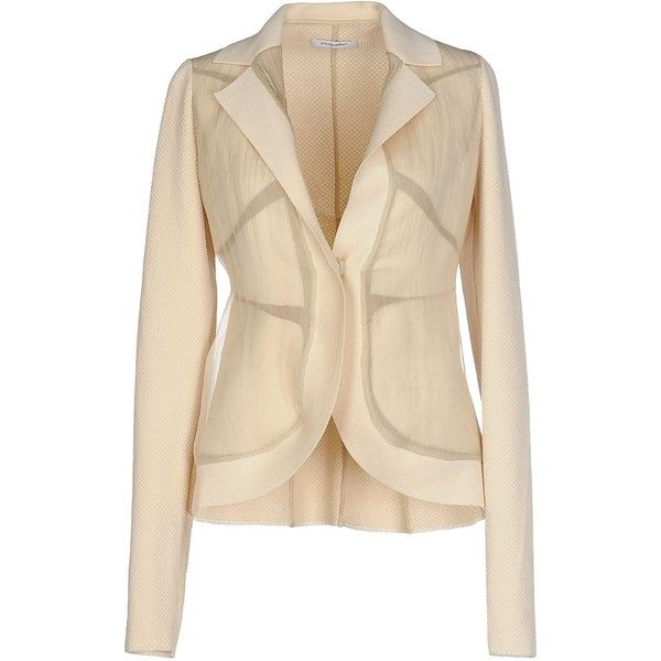 Gentryportofino Blazer (33.330 RUB) ❤ liked on Polyvore featuring outerwear, jackets, blazers, beige, beige blazer, single breasted jacket and beige jacket