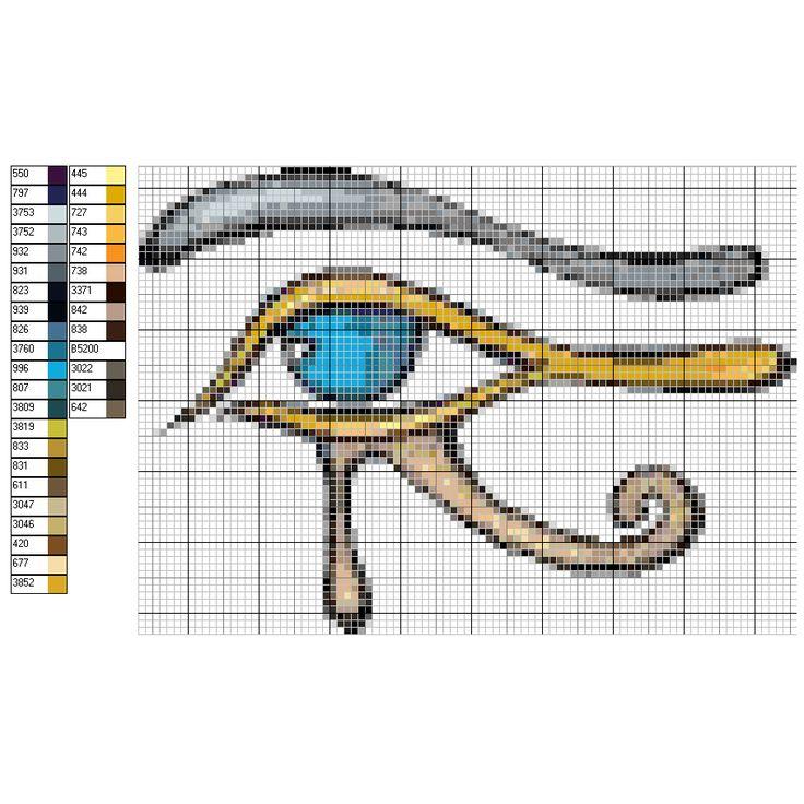 Schéma, grille, diagramme gratuit DMC au point de croix : Oeil égyptien