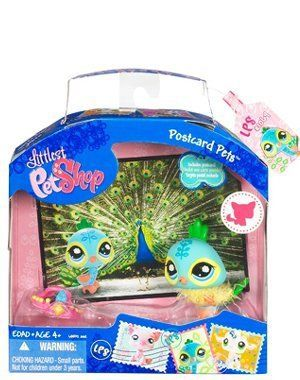 LPS Littlest Pet Shop Postcard Pets Series Colorful Peacock Bird New Hasbro Retired Bobble Head Collectible Toy