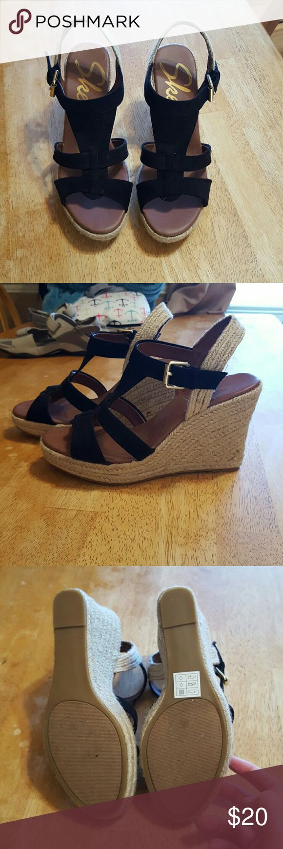 """Skechers Wedges Black and rope skechers Wedges. Wedge is 4"""" high at the back. Never worn. Skechers Shoes Wedges"""