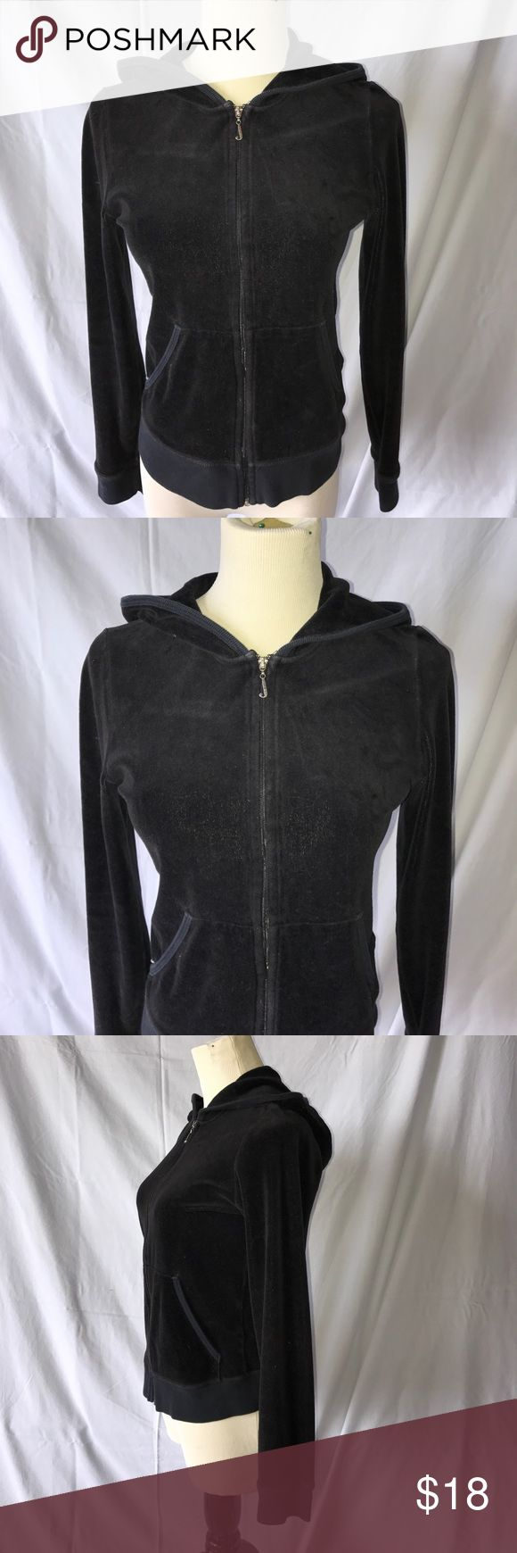 Juicy Couture black zip up hoodie Soft zip up from Juicy, lightly worn. There is a tiny hole at the seam of the right jacket pocket where the white is on the last picture posted. Would fit a small as well. Juicy Couture Jackets & Coats
