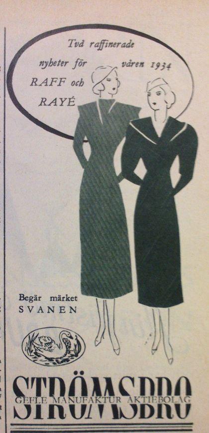 "ad for fabrics from textile mill Gefle Manufaktur in Gävle, Sweden, in Swedish magazine ""Husmodern"" 1934"
