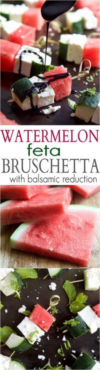 Watermelon Feta Bruschetta, the easiest appetizer recipe you'll ever make! Watermelon, Cucumber, and Feta Cheese all skewered together and topped with a sweet Balsamic Reduction that'll blow your mind. A must this summer! | joyfulhealthyeats.com #glutenfr