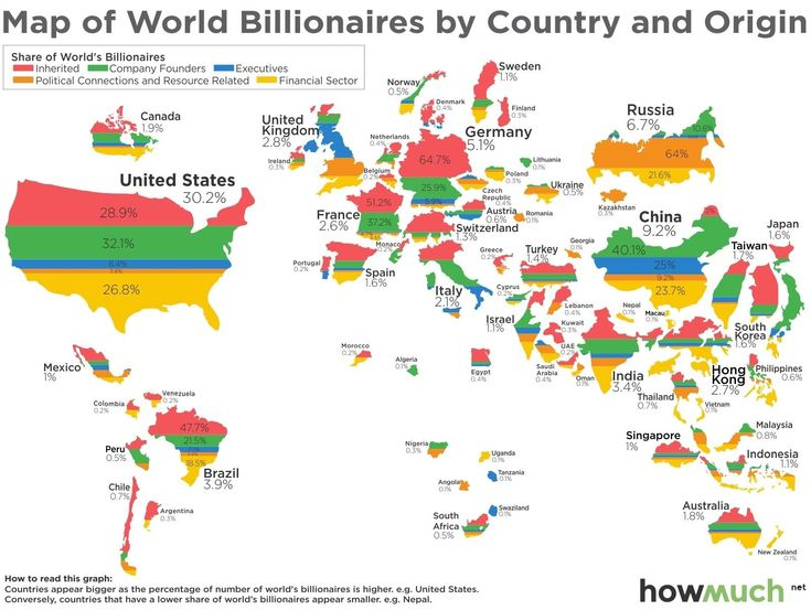 53 best cartograms images on pinterest cards maps and the world map of world billionaires by country origin gumiabroncs Gallery