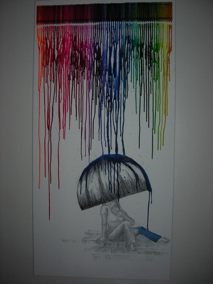 melted crayon art: rainbow rain $110