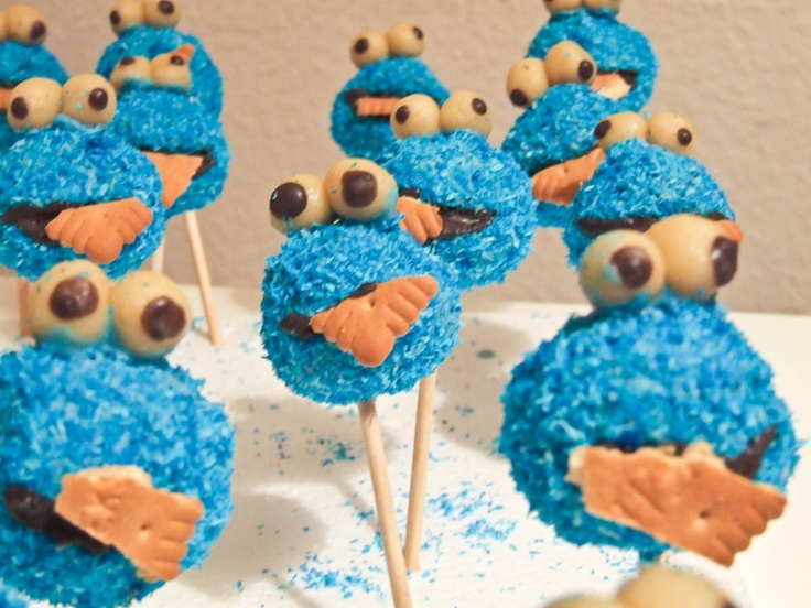 Cookie monster CakePops (german how-to - also available in english on the same blog)