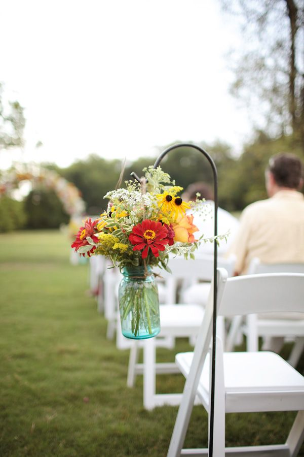 79 best images about wedding flowers on pinterest mason for Outdoor wedding ceremony decorations pictures
