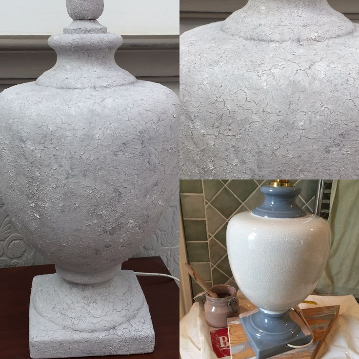 Old ceramic lampbase turned into a stone look with chalk paint from Nordic Chic and crackletex and fine stone from Artisan Enhancements