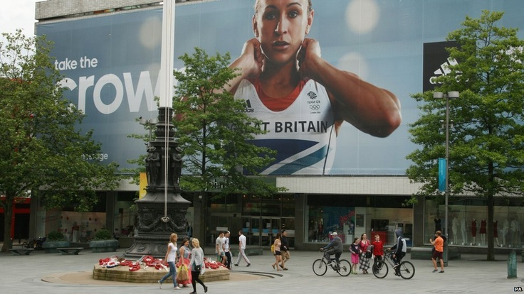 Huge poster of Team GB heptathlete Jessica Ennis in Sheffield