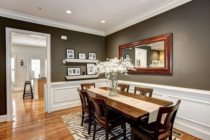 Traditional Dining Room with Paint 1, Standard height, Crown molding, can lights, Brookstone Traditional Wall Mirror, Paint 2