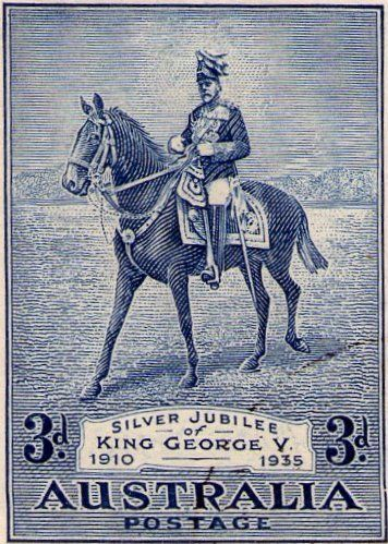 Silver Jubillee of King George V 1910-1935. Stamp printed in Australia. Collecting by Engraver