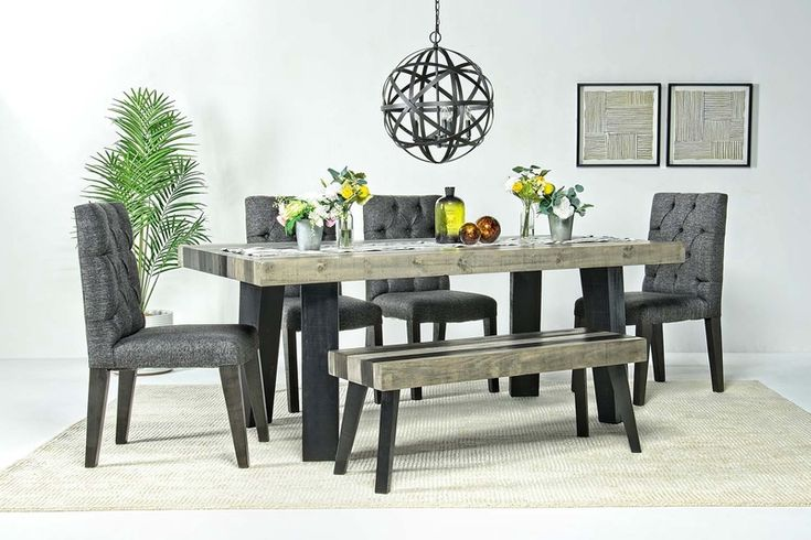 Salida Dining Table 4 Chairs Bench, Mor Furniture Dining Room Sets