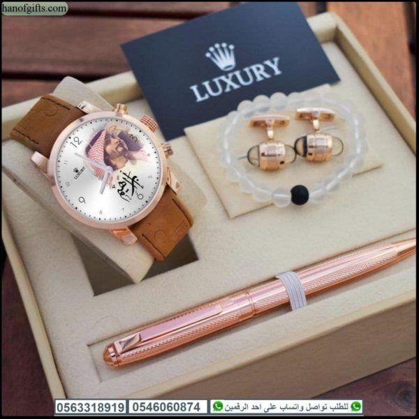 ساعات لوكسوري رجالي شكل مونت بلانك بالاسم درجة اولى مع اسواره و قلم و كبك هدايا هنوف Bracelet Watch Luxury Accessories