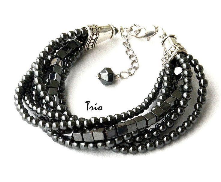 Купить Браслет Грозовые облака - темно-серый, браслет из гематита, браслет с гематитом, гематитовый браслет