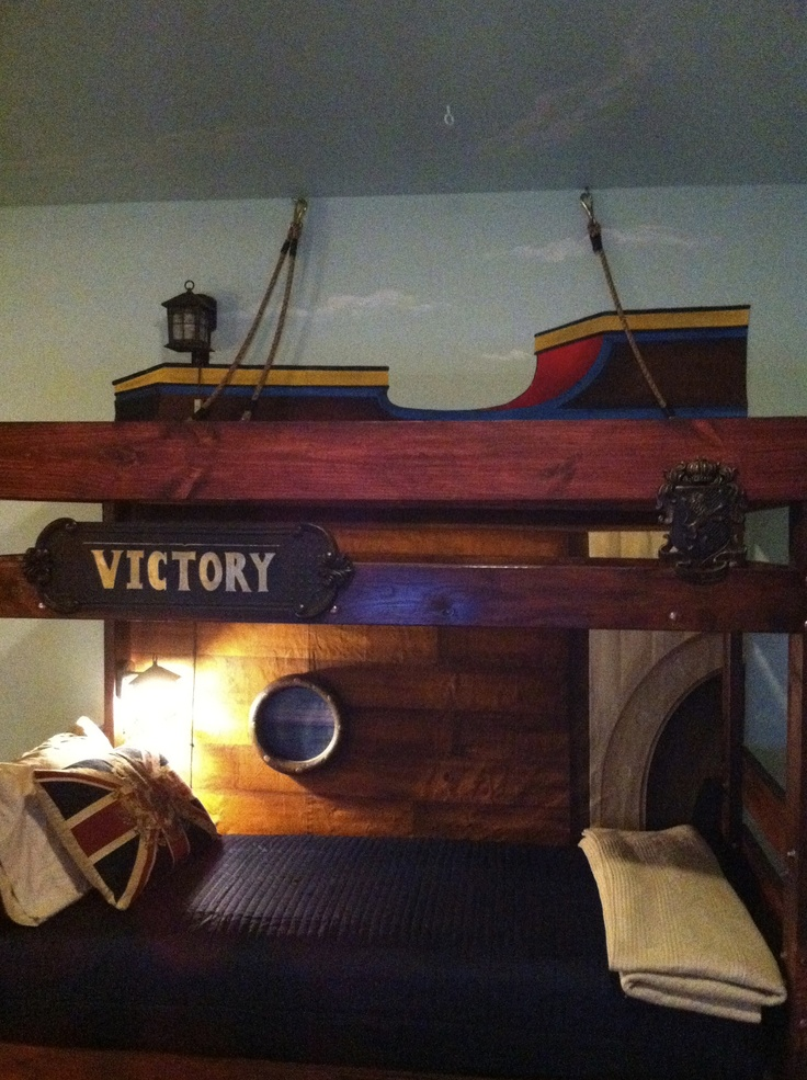 Bunk bed made pirate ship! Painted canvas background. On