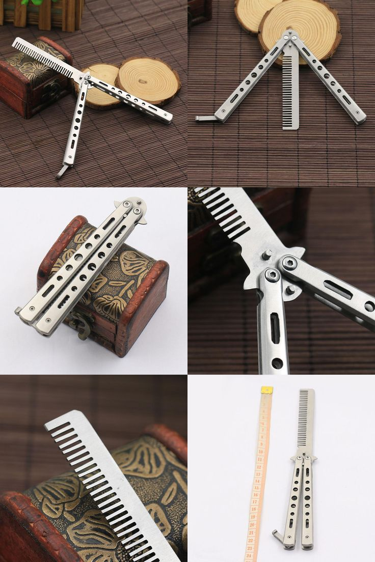 [Visit to Buy] 2015 New Stainless Steel Practice Training Butterfly Knife Comb Tool Cool Sport  5W3Z 7GQF #Advertisement