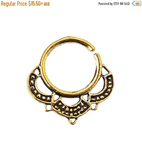 ON SALE. Tribal Septum Ring for pierced nose by Umanativedesign