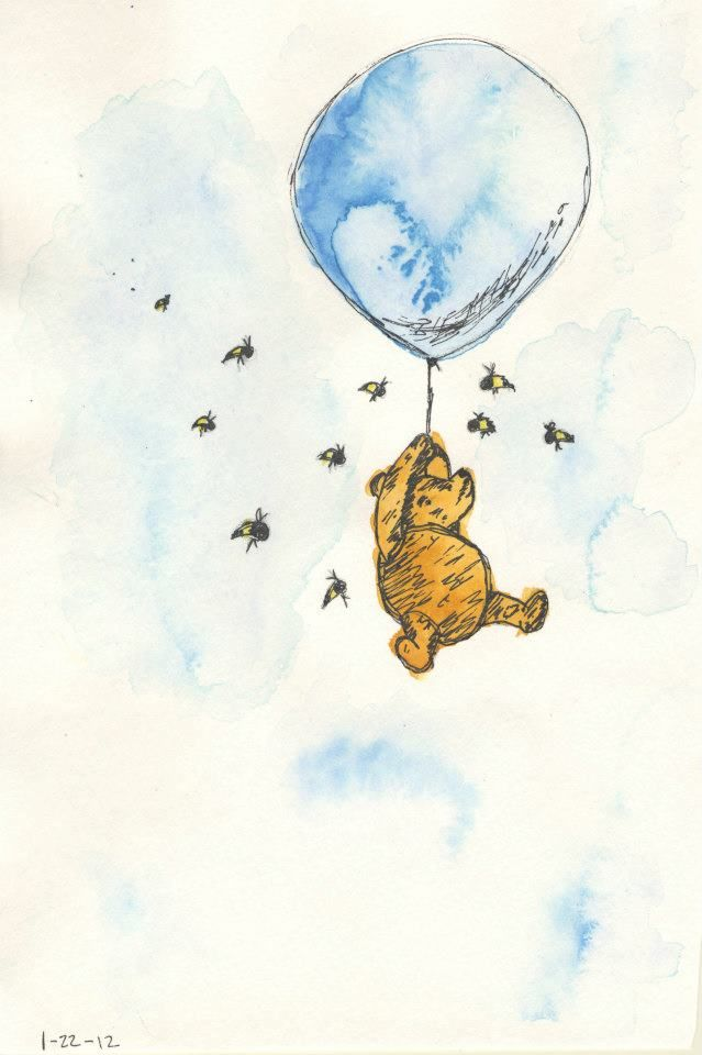 This is watercolor artwork that I did of Winnie the Pooh (the old version Winnie the Pooh).