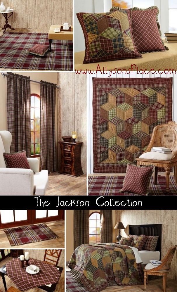 The Jackson Collection quilted bedding features a patchwork star pattern design.  Like us on Facebook!  www.facebook.com/allysonsplacedecor / #Primitive #Country #home #décor #VictorianHeart #VHC #Quilts