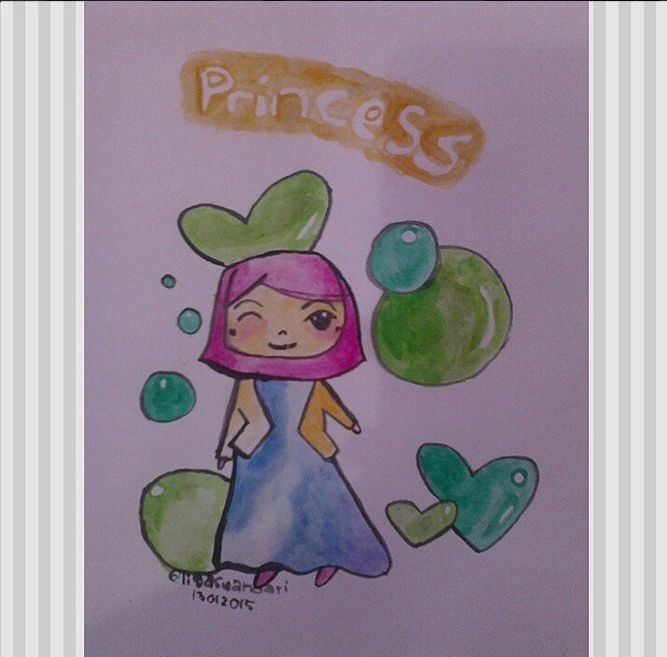 my little princess Kids illustration. Watercolour.