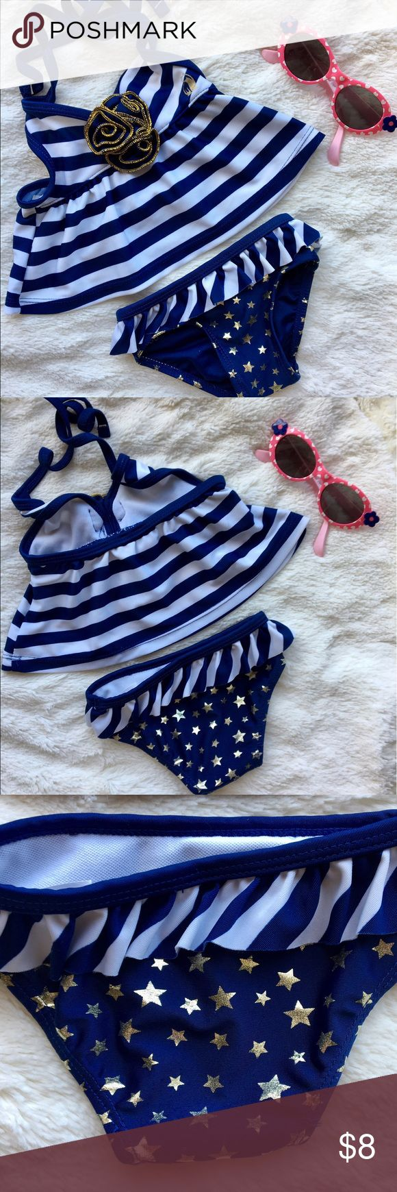 Tankini gold stars blue white stripes Like new blue and white tankini. So cute, great for Memorial Day weekend, 4th of July or just because it's adorable! Rugged Bear size 12 months Swim Bikinis