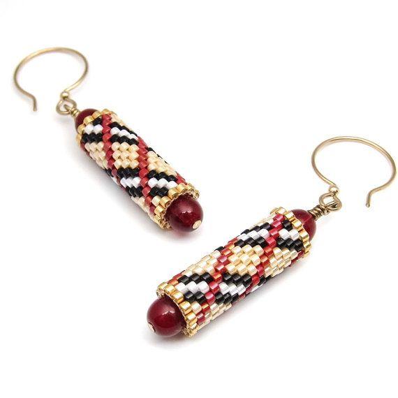 Plaid earrings - beaded earrings - beaded bead earrings - bead woven earrings - peyote stitch earrings - seed bead earrings