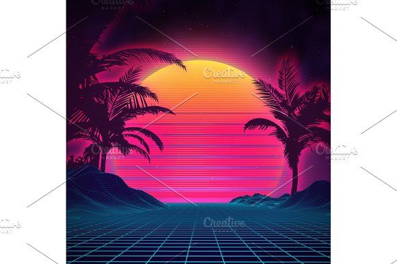 Retro background futuristic landscape 1980s style. Digital retro landscape cyber surface. 80s party background . Retro 80s fashion Sci-Fi Background Summer Landscape.   @creativework247