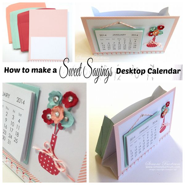 Tutorial: How to use a card base from Stampin' Up!'s Sweet Sayings Card & Envelope kit to make a standing mini calendar with storage pocket.