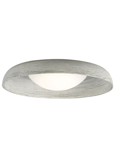 The ceramic shade of the contemporary Karam LED flush mount ceiling light from Tech Lighting is textured and painted by hand to create the rough and inherently unique appearance. The inner texture is highlighted by the softly diffused light emitted from a sleek acrylic dome.