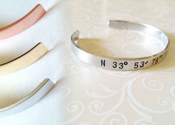 GPS Coordinate Engraved Longitude Latitude by MignonandMignon