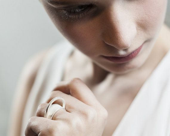 Ring III. 3d-printed. Matte Gold. Matte Silver. by OLAJewelry