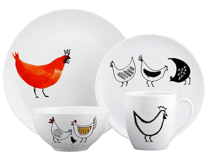 Margaret Berg Art: Chicken+Farm+Dinnerware+Set