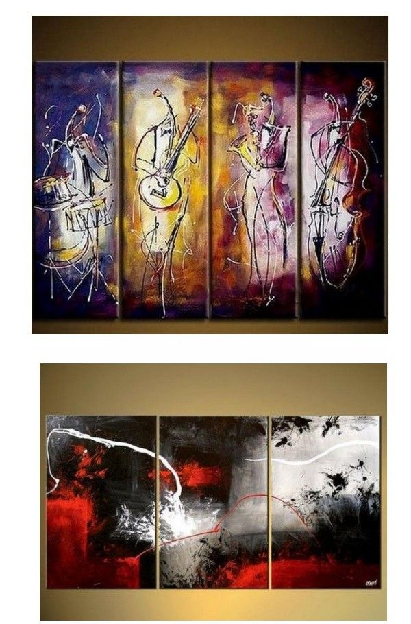 4 Piece Wall Art Music Player Painting Extra Large Art Abstract Wall Art Wall Painting Acrylic Art Modern Art Large Canvas Painting Abstract Art Painting Abstract Art For Sale