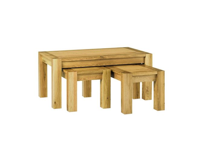 Oak Nest of Coffee Tables Available Online Available with Discount At  Furniture Direct UK