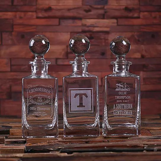 This glass whiskey decanter makes the perfect gift for that classic gentlemen in your life. We can engrave anything you want on the bottle, Including logos, names, initials etc.