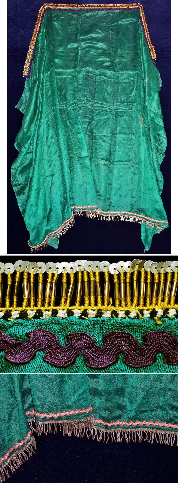 A silk 'yazma' (large scarf) from the Aydın-Ödemiş area.  Part of the bridal costume (urban - small city – style), from the Aydın-Ödemiş area.  Ca. 1925-1950.  Edged with glass beads & metal sequins (on the frontside) and with a metallic ribbon (small spirals) on the backside.  (Inv.nr. yaz063 - Kavak Costume Collection - Antwerpen/Belgium).