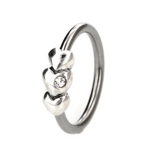 Silver & Steel CBR - Outward Facing Hearts. Buy today at www.bodyjewelrypiercing.com. #beadrings #bodyrings #captivebeadrings #bodyjewelry #bodypiercing #piercingjewelry #piercingfashion