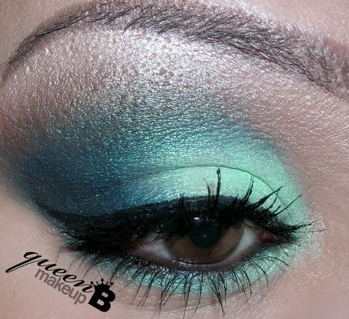 """BFTE pigment in """"Mint"""" (Middle of lid, tear ducts & mirrored on lower lashline)  BFTE pigment in """"Illusion"""" (Crease & outer lower lashline)"""
