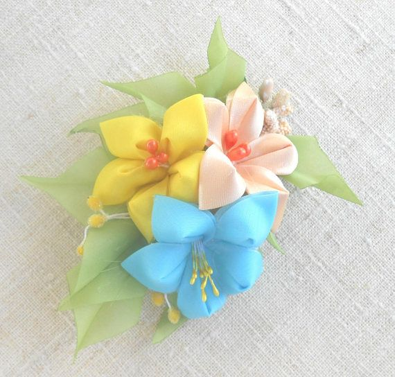 Hair clip  with delicate lilies of tapes in style of kanzashi Barrette alligator clip with colors flowers of polyester fabrics Hairpin Lily