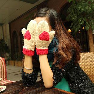 Корейский зима бежевый милые дикие дамы плюшевые любовь перчатки