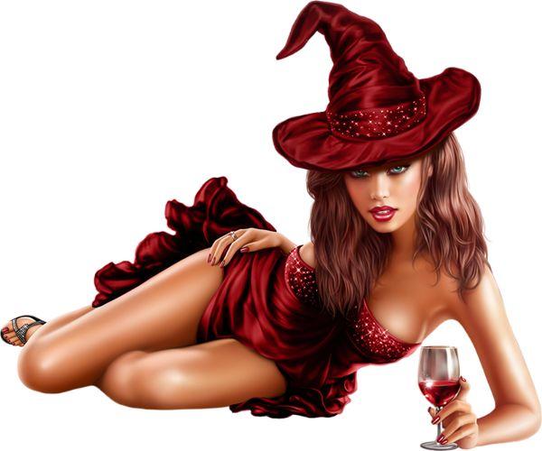 Sexy czarownica i kieliszek wina rurki - Sexy czarownica png